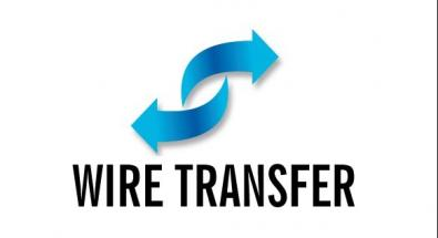 arrows with wire transfer wording